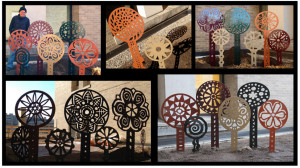 metal flower sculptures